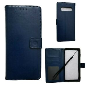 Samsung-Galaxy-S10-Plus-blue-Leather-Wallet-Case-With-Card-Slots-And-Strap