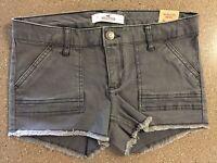Hollister Low Rise Vintage Twill Short- Short Dark Solid Grey Size 00