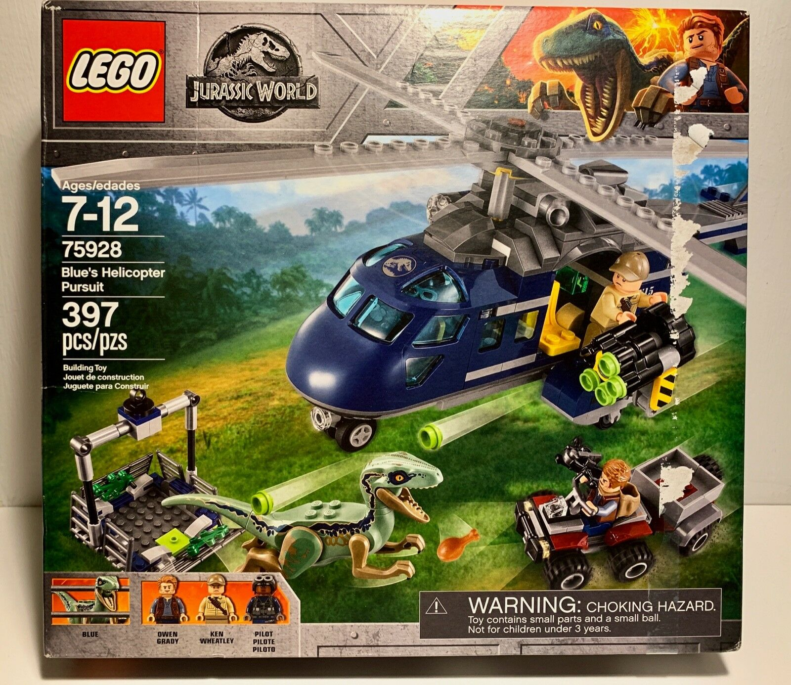 LEGO Jurassic World Blau's Helicopter Pursuit 2018 (75928) Read Sealed Box Wear