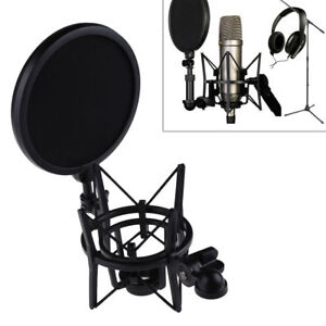 New-Microphone-Mic-Professional-Shock-Mount-Holder-with-Pop-Shield-Filter-Screen