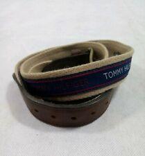 ORIGINAL TOMMY HILFIGER 11TL02X032 400 TAN LEATHER NAVY BLUE RIBBON INLAY BELT