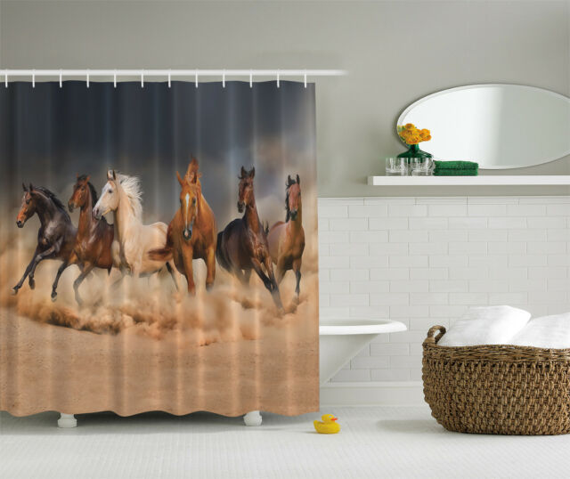 Running Horses Southwestern Country Decor Gifts Equestrian Farm Shower Curtain