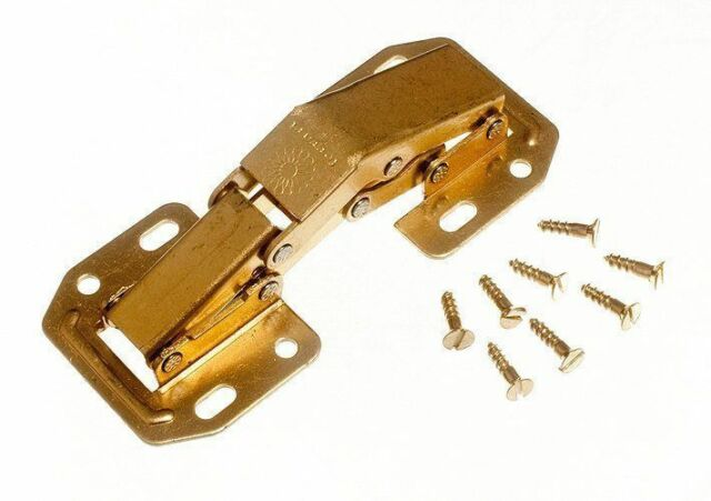 NEW EASY ON SPRUNG CABINET HINGE EB BRASS PLATED STEEL AND SCREWS (6 PAIRS)
