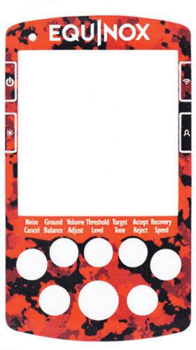 Minelab Equinox 800//600 vinyl keypad stickers in Carbon Red//black