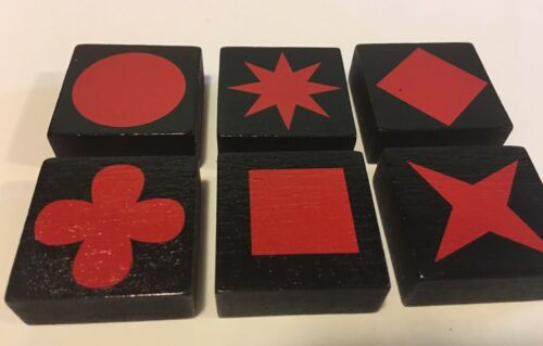 Lot of 6 RED QWIRKLE Game Tiles Replacement Part Pieces Set ONE OF EACH SHAPE