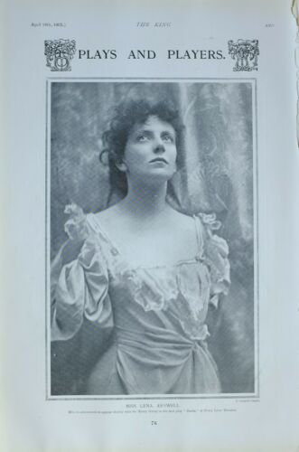 1903 PRINT MISS LENA ASHWELL PLAYING AT DRURY LANE THEATRE DANTE PLAY