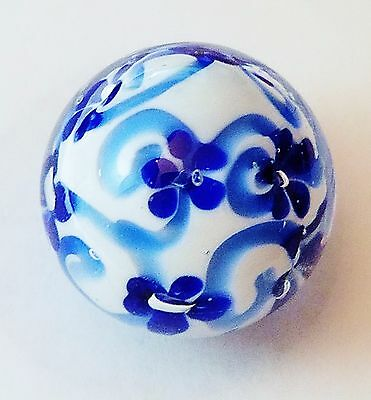 """HANDMADE GLASS MARBLE FLORALS /""""COSMOS/""""  22mm SHOOTER"""