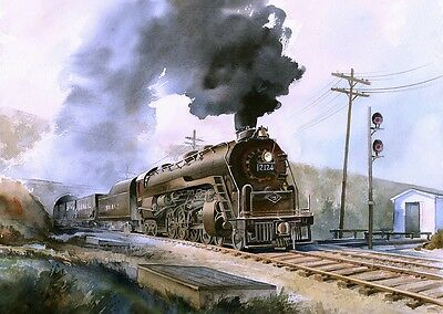 Matted Prints Perkasie Tunnel PA Reading RR RDG T-1 #2124 Steam Locomotive