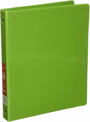 """BAZIC 1/"""" Lime Green 3-Ring View Binder w// 2-Pockets Case of 12//24"""