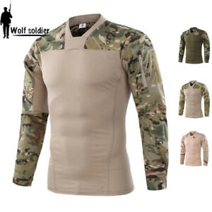 Mens-Military-T-shirt-Combat-Tactical-Shirt-Army-City-Casual-Pullover-Camouflage