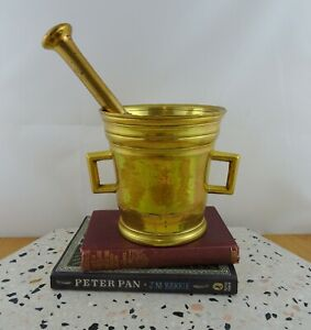 LARGE-Antique-Solid-Brass-Mortar-amp-Pestle-1800s-Apothecary-Kitchen-HEAVY