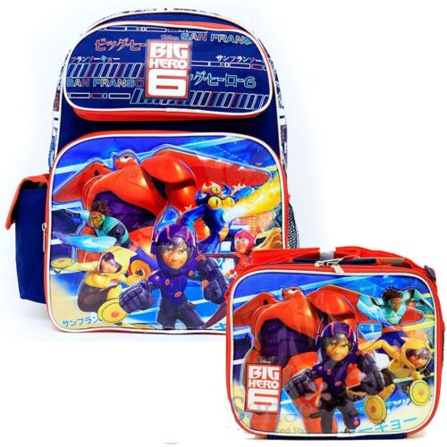 """BRAND NEW Licensed Product Disney Big Hero 6 Large 16/"""" backpack /& Lunch Box"""