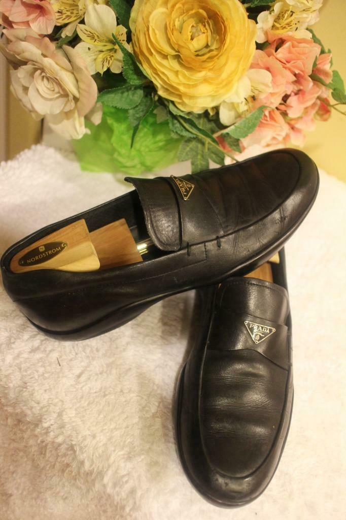 Prada Classic Leather Triangle Logo Loafer SIZE 8.5 US 9.5  (800