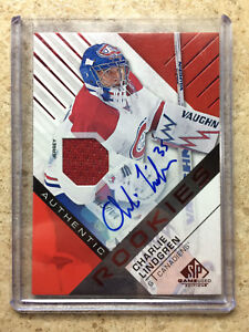 16-17-UD-SPGU-SP-Game-Used-Authentic-RC-Rookie-Red-Auto-Jersey-CHARLIE-LINDGREN