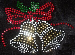 CHRISTMAS-XMAS-BELLS-iron-on-RHINESTONE-BEAD-TRANSFER