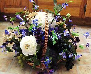 Coffee Shop Table Centerpiece Grapes Wicker Basket Arrangement Purple Cream Tan