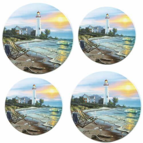 "LIGHTHOUSE NAUTICAL RLD Set of 4 STEEL STOVETOP BURNER COVERS 2-10/"", 2-8/"""