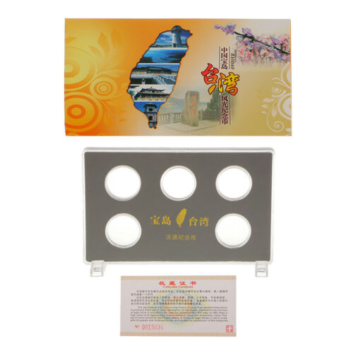 Coin Presentation Display Stand with 5pcs Clear Capsule for 30MM Coin Taiwan