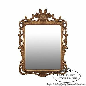 58e65576201a Vintage French Louis XV Style Gold Gilt Carved Wood Frame Mirror