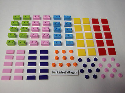 200 Lego Small Bricks Plates Tiles Friends Girl Colors Pink Purple Azure Lime+