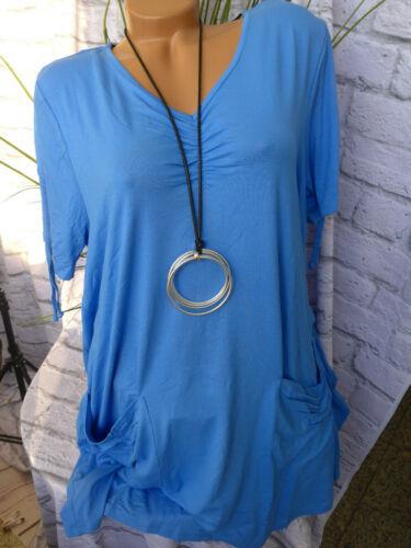 847 Sheego Shirt Tunique chemise longue bleu taille 40//42 à 56//58
