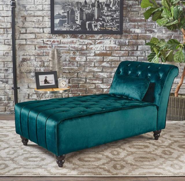 Velvet Chaise Lounge Chair Wide Sofa Green Bedroom Loveseat Living Room Hall New For Sale Online