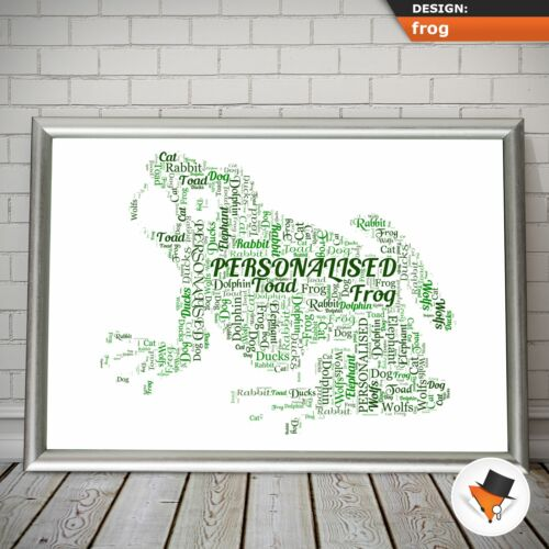 FROG WORD ART FOR SOMEONE WHO LOVES FROGS COMPLETELY PERSONALISED WITH WORDS