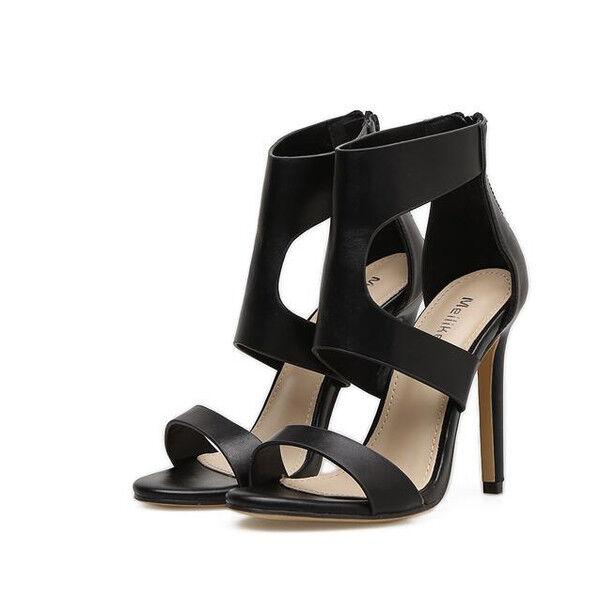 Sandali eleganti tacco stiletto 11 cm nero comodi simil pelle eleganti 9772