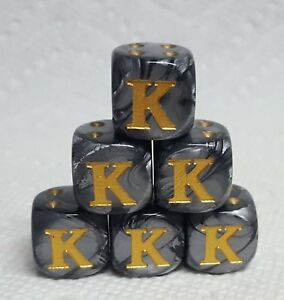 """Dice - Custom Letter """"K"""" on *Six* 16mm Leaf Steel w/Gold """"K"""" as #1 and Gold Pips"""