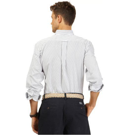 NWT  70 NAUTICA Uomo M POPLIN VINEYARD POPLIN M STRIPE Cotton Shirt BRIGHT blu W41400 004a0a
