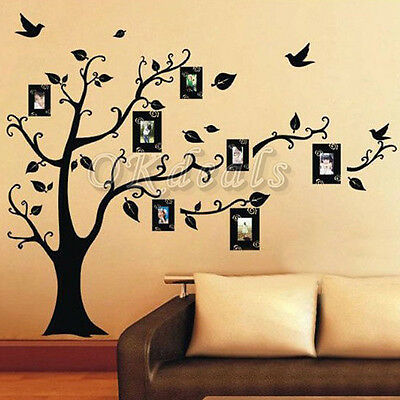 Home Decor Photo Frame Black Tree Removable Decal Room Wall Sticker Vinyl Art