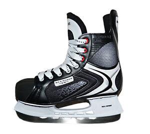 M-amp-L-Sport-Power-Fit-Eishockey-Schlittschuh-Unisex-Gr-44-5-Iceskate-schwarz