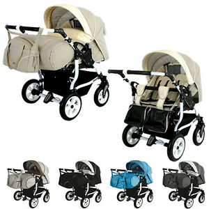 Duo Stars Double Twin Twins Tandem Pram Travel System 8 colours Carrycots