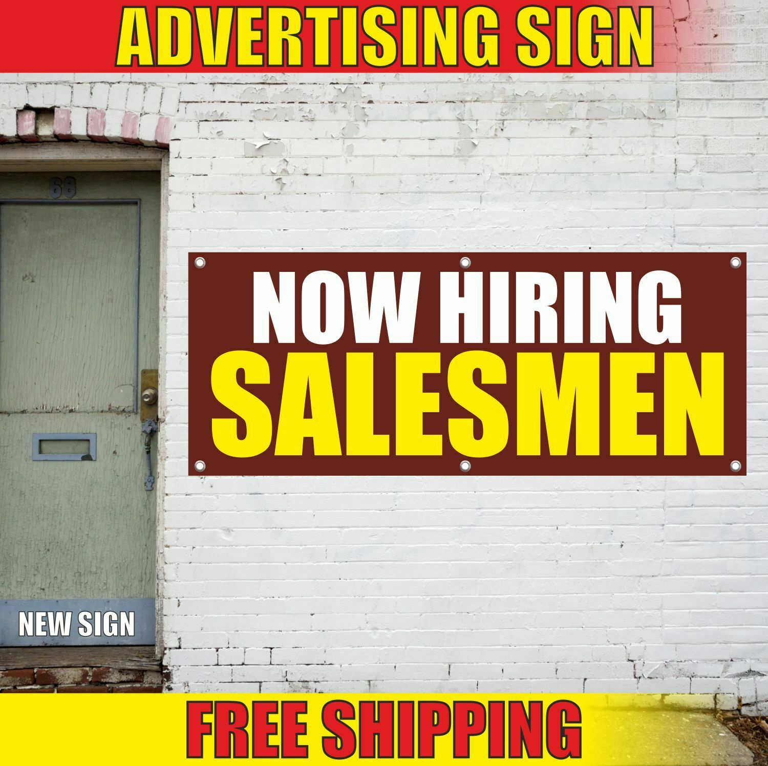 NOW HIRING SALESMEN Advertising Banner Vinyl Mesh Decal Sign FAIR JOB WANTED 2