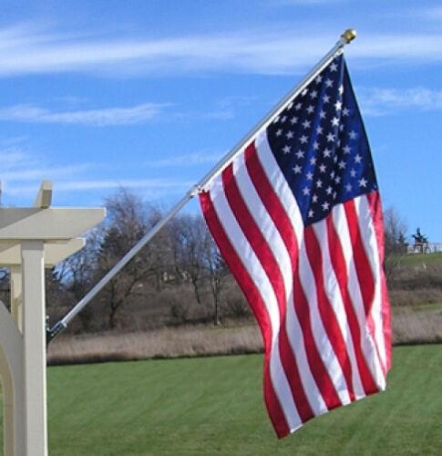 6/' NEVER FURL TANGLE FREE FLAG POLE W//BRACKET /& US FLAG
