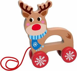Premium-Wooden-Toy-Pull-Along-Reindeer-Age-18-Months