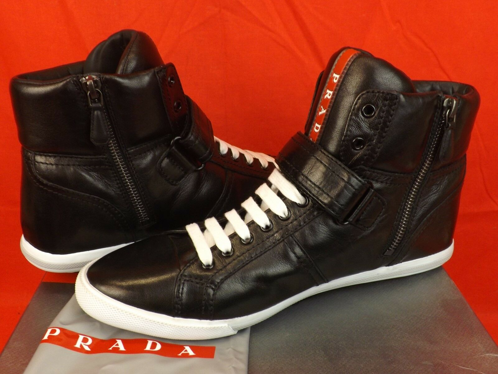 New in in in Box Prada en Cuir Noir Souple À Lacets Hi Top Logo Zip Strap Baskets 41 895   8afb64