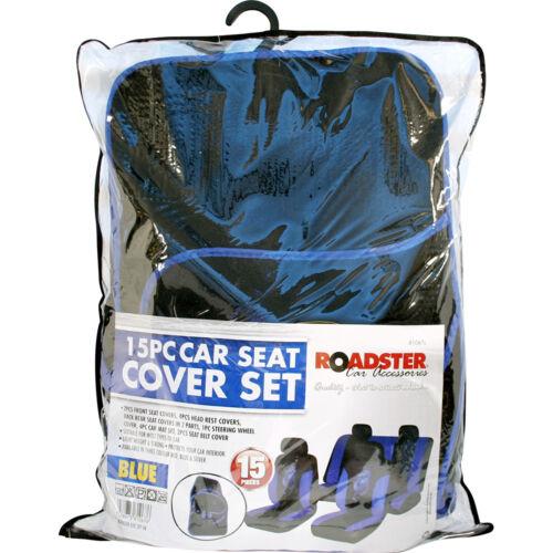 Azul//Negro Dragón Esteras de cubiertas de asiento de coche mazo de Cubierta del Volante Almohadillas Set