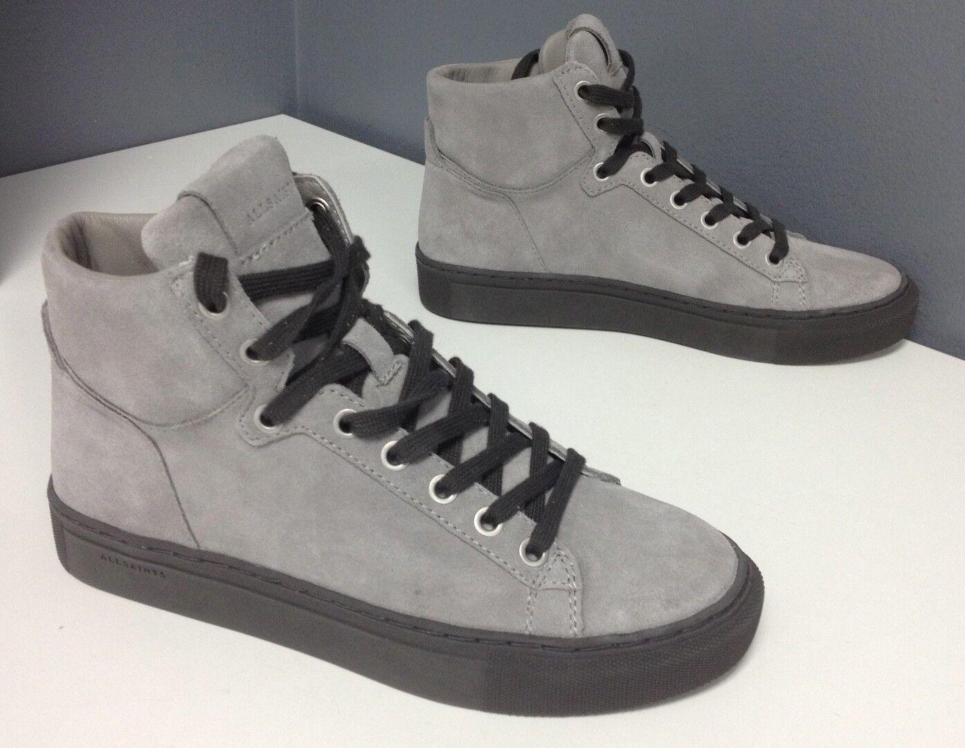 ALL SAINTS NWOB Gris Suede Rubber Sole Noir Trim High Top Sneaker Sz 37 B4503