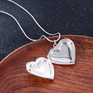 Fashion-925-Silver-Heart-Necklace-Locket-Photo-Pendant-Wedding-Jewelry-Gift
