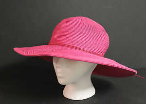 14c0d0b0ae6 CROFT BARROW WOMENS FLOPPY HAT HOT PINK WIDE BRIM STRAW SUMMER SUN ...