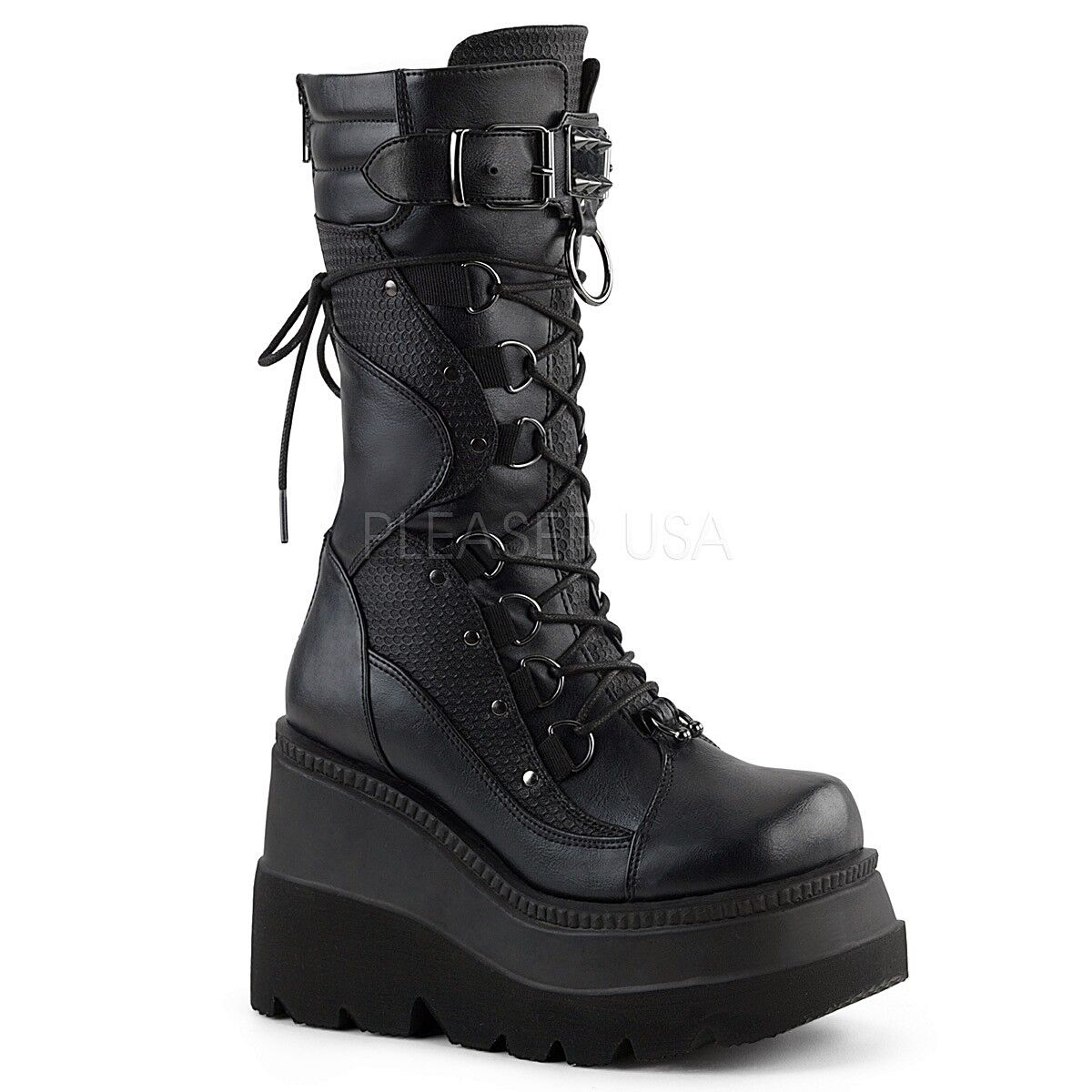 Demonia 4.5    Wedge Platform Black Gothic Shaker Boots 6 7 8 9 10 11 12 1d578a
