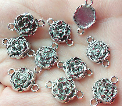10 pcs Tibetan Style Connectors Flower  Antique Silver 12mm Jewellery Making