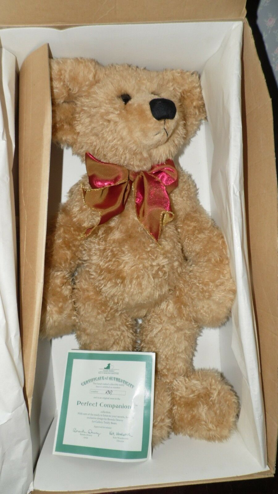ASHTON DRAKE GALLERY TEDDIES JOINTED 22  BEAR PERFECT COMPANIONS 1998W COA NIB