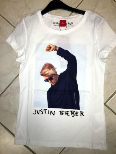 %50% s.Oliver Junior Girl Shirt mit Justin Bieber Print in weiß Vokuhila look