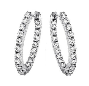 1.65 CT Diamond Inside/Outside Hoop Earrings in 14k White Gold G-H SI1-SI2 New!!