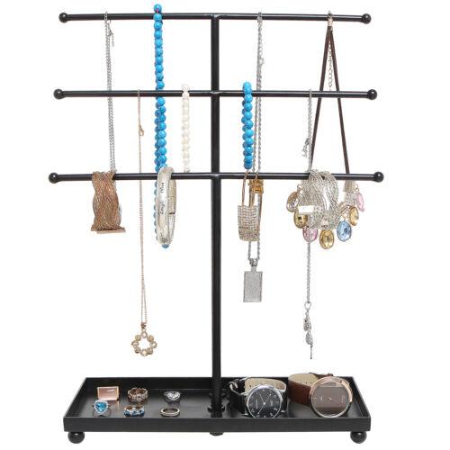 Black Metal 3 Tier Tabletop  Jewelry Organizer Display Tree Rack w// Ring Tray