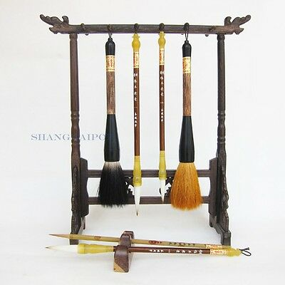 Set of 6 Brush Pen Stand Holder Chinese Calligraphy Painting Art Wolf Goat Hair