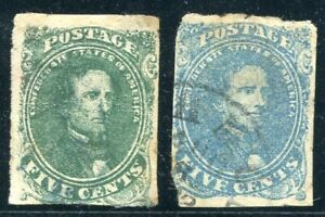 Confederate States - Jefferson Davis, 5c green + blue, cancelled