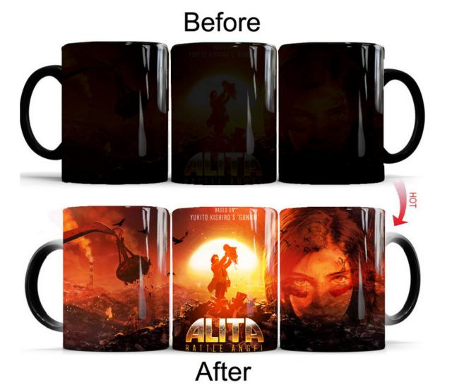 Alita Battle Angel Color Changing Mug Heat Sensitive Magic Tea Water Cup Box